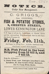 Advert For C. Griggs, Fish & Potatoe Stores